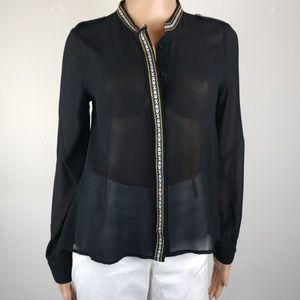 Free People Sheer Black With Embroidery Trim sz M